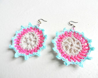 Crocheted earrings light blue, pink and pearl white greyish - Paraty