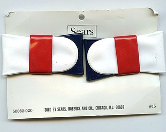 Vintage PATRIOTIC or NAUTICAL BOWS Red White and Blue Colored Shoe Clips 1970s Retro Large  new old stock Five Bucks
