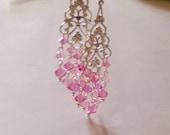 Rose Pink Crystal Chandelier Earrings