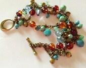Multicolored Beaded Antiqued Brass Bracelet