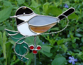 Stained Glass Chickadee Garden Stake