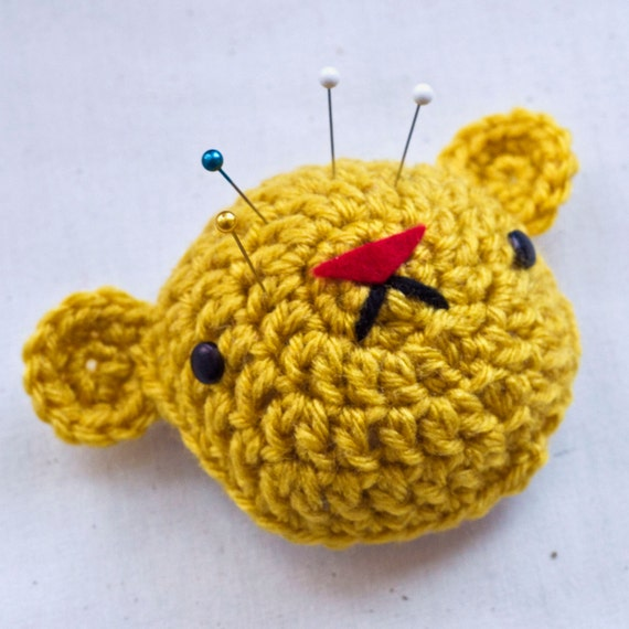 Bear Face Pincushion - Gold