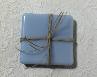 Set of 2 Light Blue Grey Fused Glass Coasters