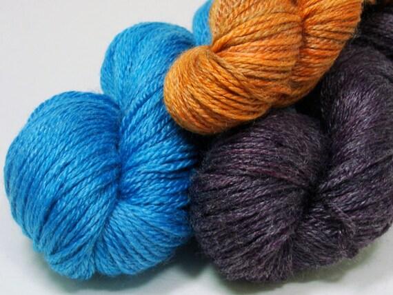 SALE Cyrstal Socklet Yarn Kit Spring 2012 Knitty Hand Dyed by Yarn Hollow Purple Ocean Blue Orange