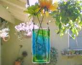 Ocean Colors One-of-a-kind Vase - Hangs on a window or wall, holds water and flowers.