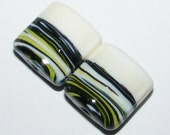 Sra glass beads, lampwork glass beads, glass bead pair, matching glass beads, green made in the USA.  SRA BHV