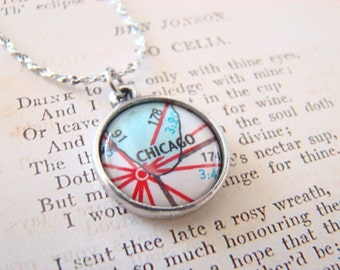 Chicago Vintage Map Necklace