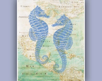 Blue Seahorses  Print, 8x10  Vintage image hippocampus print,  Marine Wall Decor, Nautical art,  Digital Collage  Print, Coastal Living