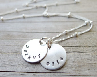 Personalized Mini Mom Necklace - Petite Sterling Discs with Names Handstamped Mothers Jewelry Family Name Discs Pendants with Children Names