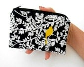 Little Zipper Pouch Coin purse ECO Friendly Padded Birds on Black Hedge