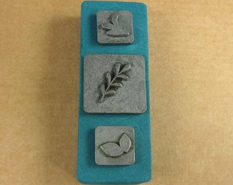 """1/2"""" Leaves2 Ornamental Stamps by Melody Ross / Set of 3 / Use On Chipboard And Leather"""