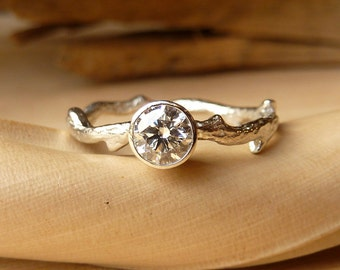 Bezel Set Diamond Branch Ring