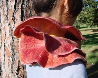 Rose nuno felted scarf