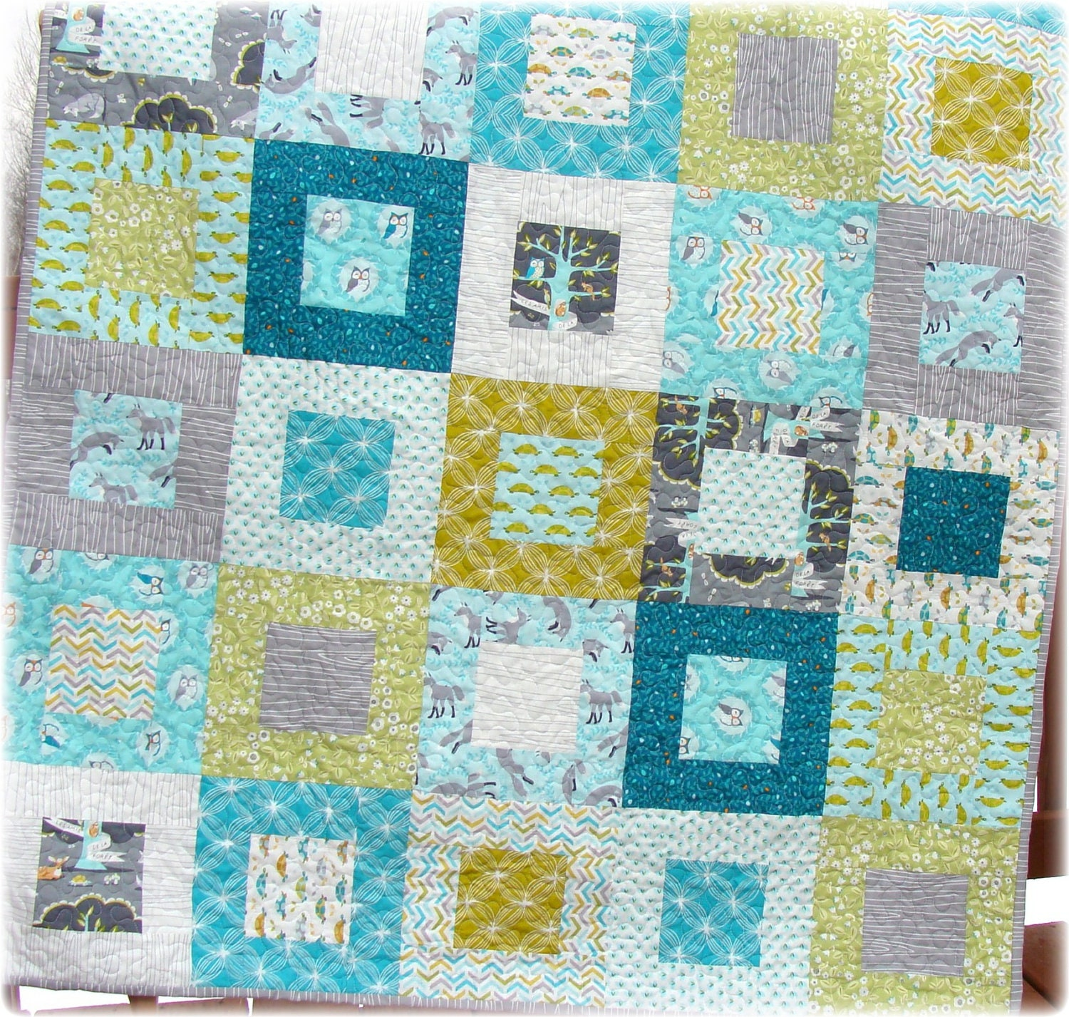 Baby boy quilt les amis fabrics adorable by carlenewestberg for Boy quilt fabric