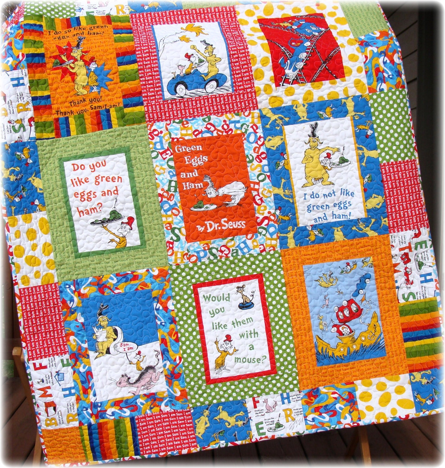 Dr Seuss Baby Quilt Green Eggs And Ham