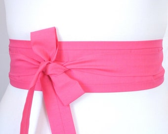 pink obi belt sash - nice sash for bride and bridesmaid - bright pink - can be made in other colors -Japanese oriental style fashion