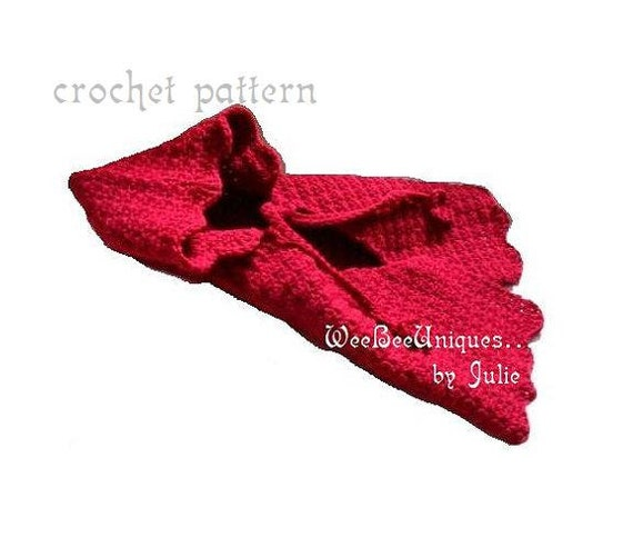 crochet pattern digital download red riding hood cape