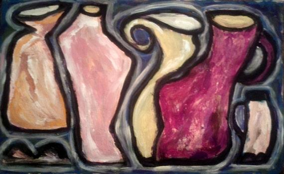 """Pintura original, """"Floreros de Roma"""""""
