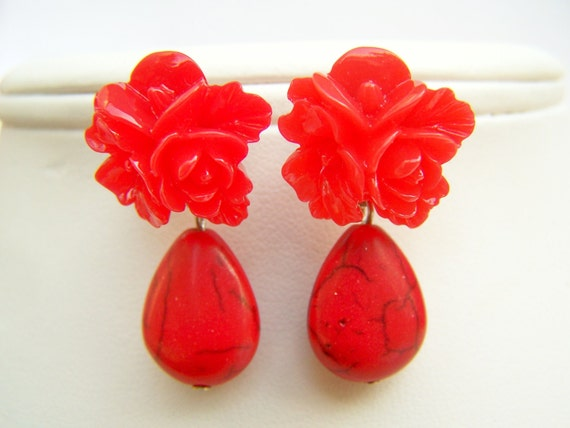 Red Rose Post Earrings with Dangles, Bright Red Flowers & Stone Drops on Studs, Bridesmaids Flower Posts - Farah
