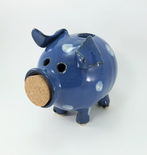 piggy bank glazed denim blue and polka dots