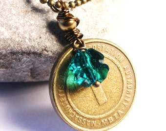Boston MA Vintage Subway T Token Necklace - Unisex Brass for Him or Her - Etsy Dudes - Lucky Clover Shamrock - Celtics Irish 33