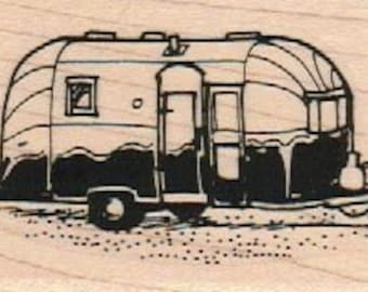 Rubber stamp Airstream Trailer camper caravan   scrapbooking supplies 7953 cling stamp, unmounted or wood mounted camper