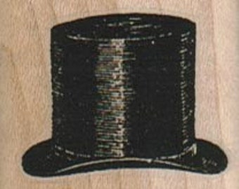 top hat Steampunk supplies  rubber stamp     wood mounted 16622