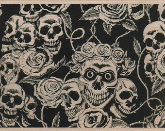 Halloween Skull And Roses Background   wood mounted unmounted cling stamp no. 12097  Day of the Dead