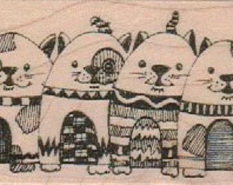 mounted rubber  stamp  Row Of Cats     original design mary vogel lozinak 19167  zentangle