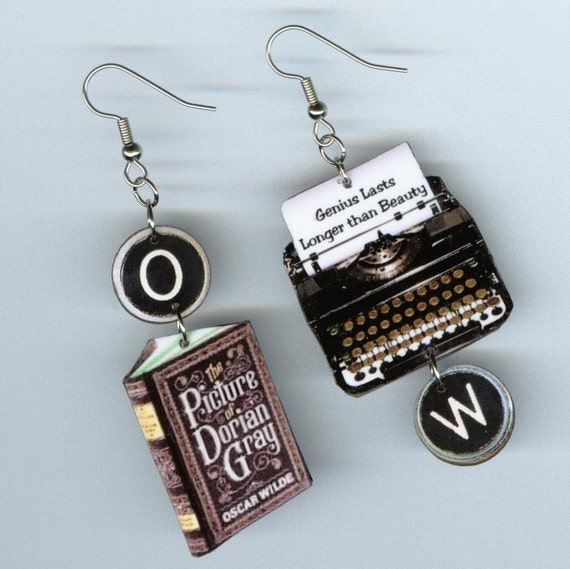 Book EARRINGS The Picture of Dorian Gray Oscar Wilde TYPEWRITER