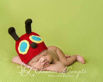 0-6 Month Little Caterpillar Hat Crochet Photography Prop