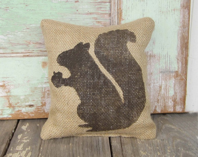 Woodland Squirrel -  Burlap Feed Sack Doorstop - Door Stop