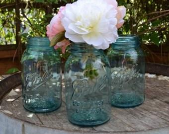 Three  Blue Vintage Quart Ball Canning Jars not Mint - Vintage Wedding - Royal Hill Vintage