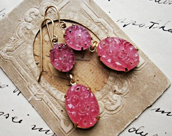 Swirl~ art nouveau earrings, blush pink earrings, Downtown Downton Abbey, rose pink bridal wedding jewelry.