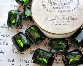 Olive green statement necklace, georgian collet, Anna Wintour necklace, art deco necklace, khaki green jewelry, olive green necklace.