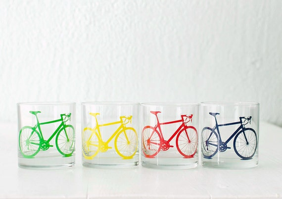 BIKE PARTY GLASSWARE set of 4 screen printed bicycle old fashioned or pint glasses