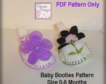 Baby Booties, Baby Slippers, Sewing Pattern, PDF, 0-6 months