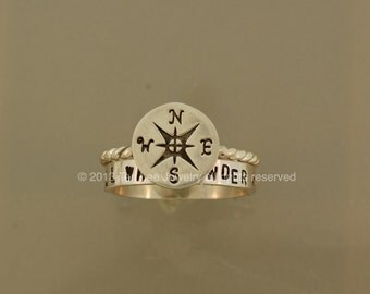 Compass Stack Set,not all who wander ring, graduation present,journey ring,sterling compass ring.