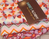 Novella and Field Study Cotton Fat Quarter FQ Bundle3 prints Orange Purple Quilting Sewing Modern Fabric Floral Chevron