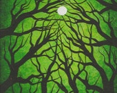 Tree painting, Green forest, sun, Original fine art, Acrylic painting by TREEARTIST on ETSY, Jordanka Yaretz