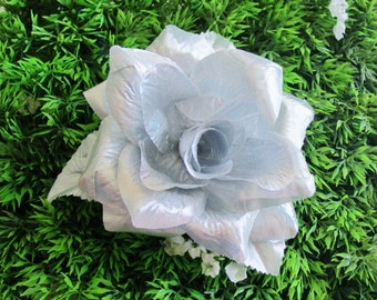 Silver Rose, Silver Hair Flower, Silver Hair Clip, PinUp, Rockabilly