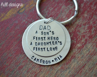 dad keychain-stamped, personalized, custom keychain-great fathers day gift