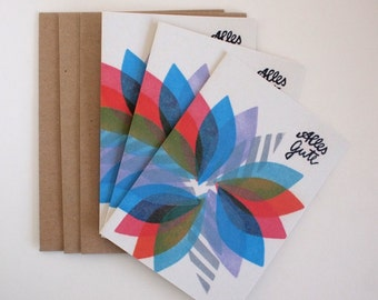 alles gute - 3 greeting cards  w. envelopes - A6 - 100% ECO recycled paper