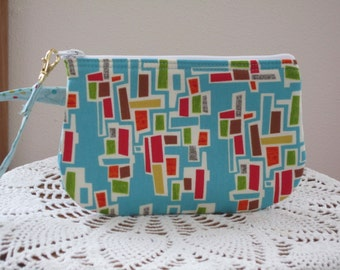 Clutch Wristlet Zipper Gadget Pouch Smart Phone Bag Mod Century Retro Atomic -  Brick - Turquoise