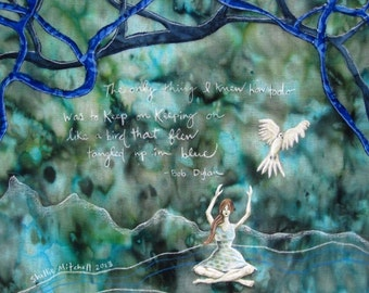 Tangled up in Blue, bob dylan lyrics, woman sitting, white flying bird, 8.5 x 11 Archival reproduction print