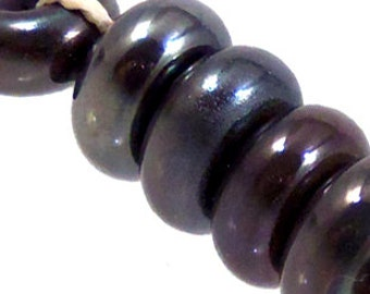 Gunmetal Silver Spacers, 6 glass beads