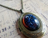 I Lava You: vintage mexican opal dragon's breath stone set in aged brass locket keepsake necklace