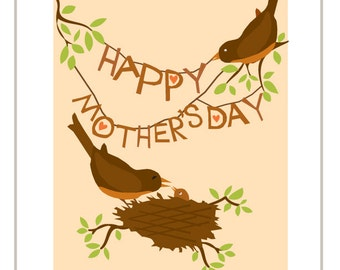Happy Mothers Day Robins greeting card hand cut type baby bird in nest