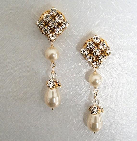Elegant Bridal Set Heavy Gold Plated Diamante Crystal: Long Formal Wedding Earrings Elegant Post Bridal Earrings