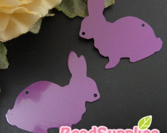 CH-ME-01901- Nickel Free, Rabbit silhouette computer-cut plate, purple, 4 pcs